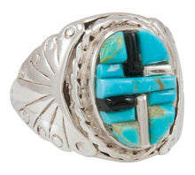 Load image into Gallery viewer, Navajo Native American Turquoise and Jet Inlay Ring Size 11 by Dawes SKU230876
