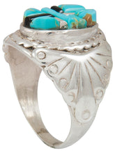 Load image into Gallery viewer, Navajo Native American Turquoise and Jet Inlay Ring Size 11 by Dawes SKU230877
