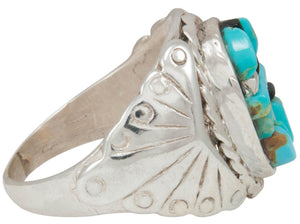 Navajo Native American Turquoise and Jet Inlay Ring Size 11 by Dawes SKU230877