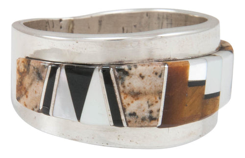 Navajo Native American Tiger Eye and Jasper Inlay Ring Size 10 SKU230878