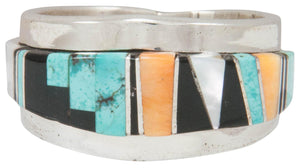 Navajo Native American Turquoise Inlay Ring Size 10 by Becenti SKU230881