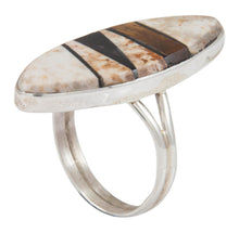Load image into Gallery viewer, Navajo Native American Jasper and Tiger Eye Inlay Ring Size 7 SKU230885