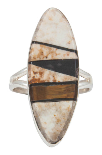 Navajo Native American Jasper and Tiger Eye Inlay Ring Size 7 SKU230885