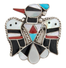 Load image into Gallery viewer, Zuni Native American Turquoise Hummingbird Ring Size 9 by Shack SKU230891