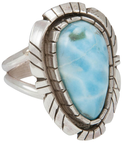 Navajo Native American Larimar Ring Size 9 1/4 by Alice Johnson SKU230905