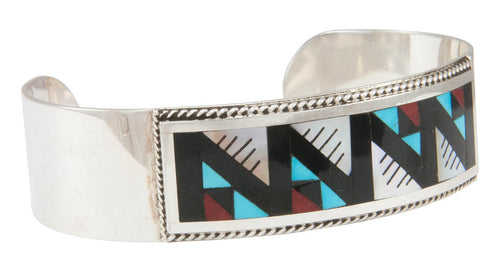 Zuni Native American Turquoise and Shell Inlay Bracelet by Othole SKU230951