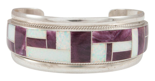 Zuni Native American Purple Shell and Lab Opal Inlay Bracelet SKU230954