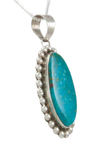 Navajo Native American Kingman Turquoise Pendant Necklace by Skeets SKU230960