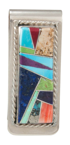 Navajo Native American Turquoise Inlay Money Clip by Arnold Yazzie SKU230971