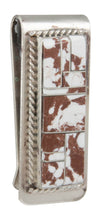 Load image into Gallery viewer, Navajo Native American Wild Horse Magnesite Money Clip by Yazzie SKU230974