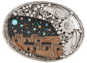 Navajo Native American Pueblo Inlay Belt Buckle by Lee and Watson SKU230979