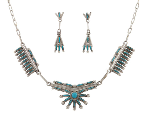 Zuni Native American Sleeping Beauty Turquoise Necklace and Earrings SKU230988