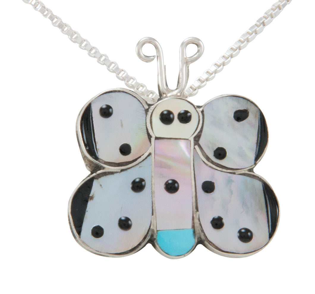 Zuni Native American Butterfly Inlay Pendant Necklace by Comosona SKU230990