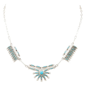 Zuni Native American Turquoise and Coral Sunface Necklace SKU231000