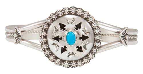 Navajo Native American Kingman Turquoise Bracelet by Jeff James Jr SKU231004