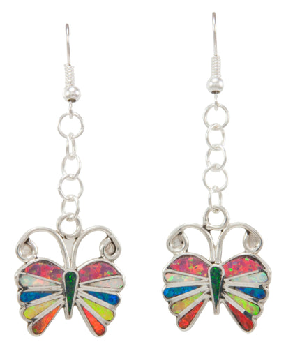 Zuni Native American Lab Opal Butterfly Earrings by Emma Edaakie SKU231023