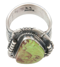 Load image into Gallery viewer, Navajo Native American Gaspeite Ring Size 10 1/4 by Kathy Yazzie SKU231040