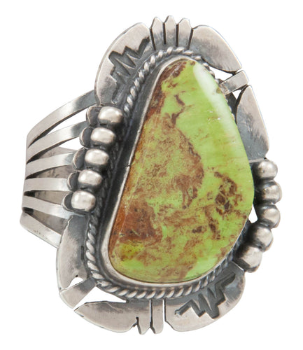 Navajo Native American Gaspeite Ring Size 10 1/4 by Kathy Yazzie SKU231040