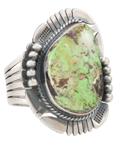 Navajo Native American Gaspeite Ring Size 10 by Kathy Yazzie SKU231041