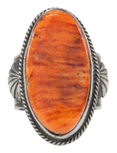 Load image into Gallery viewer, Navajo Native American Orange Spiny Shell Ring Size 8 3/4 by Yazzie SKU231043