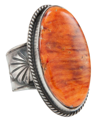 Navajo Native American Orange Spiny Shell Ring Size 8 3/4 by Yazzie SKU231043