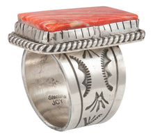 Load image into Gallery viewer, Navajo Native American Orange Spiny Shell Ring Size 10 by Yazzie SKU231045