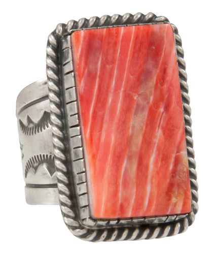 Navajo Native American Orange Spiny Shell Ring Size 10 by Yazzie SKU231045