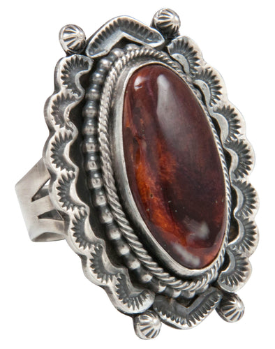Navajo Native American Spiny Oyster Shell Ring Size 8 1/2 by Yazzie SKU231046