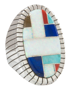 Navajo Native American Turquoise Lab Opal Inlay Ring Size 9 3/4 SKU231057