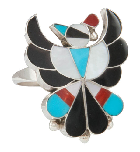 Zuni Native American Thunderbird Turquoise Inlay Rings Size 6 3/4 SKU231059