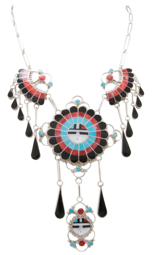 Zuni Native American Turquoise Sunface Inlay Necklace by Massie SKU231062