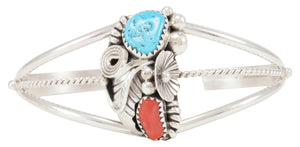 Navajo Native American Kingman Turquoise and Coral Bracelet SKU231111