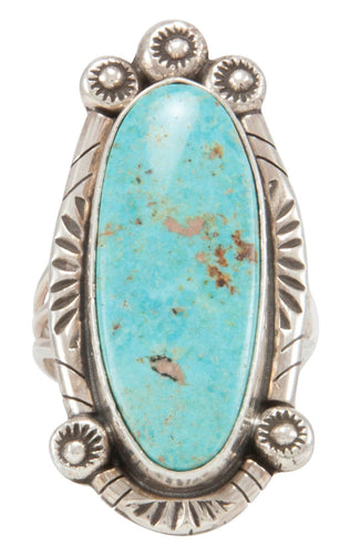 Navajo Native American Kingman Turquoise Ring Size 9 1/2 by Lee SKU231113