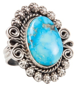 Navajo Native American Kingman Turquoise Ring Size 10 by Johnson SKU231114