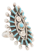 Load image into Gallery viewer, Zuni Native American Needlepoint Turquoise Ring Size 5 by Gia SKU231116
