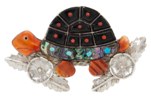 Zuni Native American Turtle Pin and Pendant by Darrell Shebola SKU231128