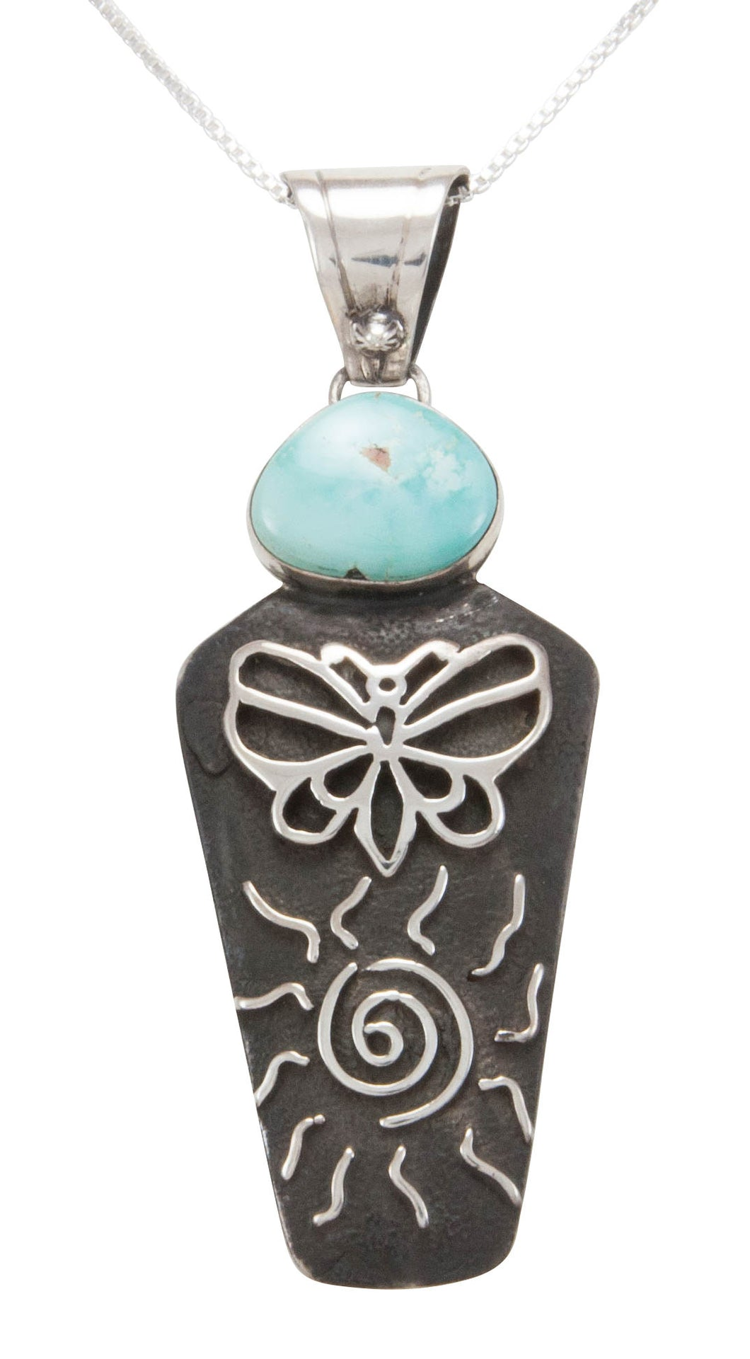 Navajo Native American Carico Lake Turquoise Pendant by Billie SKU231129