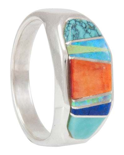 Navajo Native American Turquoise Inlay Ring Size 7 1/2 by B Joe SKU231162