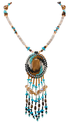 Navajo Native American Tiger Eye, Sleeping Beauty Turquoise and Seed Bead Necklace by Begay SKU231164