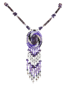 Navajo Native American Amethyst, Seed Bead and Pen Shell Heishi Necklace by Begay SKU231165