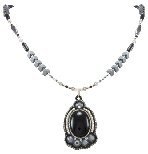 Navajo Native American Onyx, Crystal and Seed Bead Necklace by Begay SKU231166