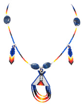 Load image into Gallery viewer, Navajo Native American Seed Bead and Lapis Teepee Necklace by Charlotte Begay SKU231172