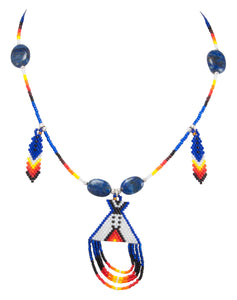 Navajo Native American Seed Bead and Lapis Teepee Necklace by Charlotte Begay SKU231172