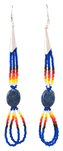 Navajo Native American Seed Bead and Lapis Earrings by Charlotte Begay SKU231188