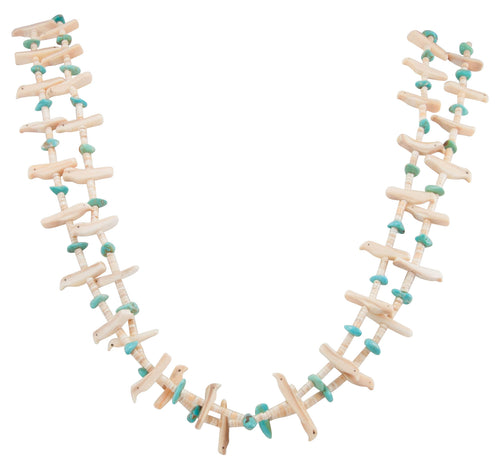 Santo Domingo Kewa Pueblo Mellon Shell Heishi and Fetish Necklace with Kingman Turquoise SKU231192