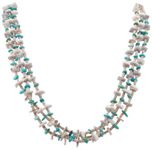 Load image into Gallery viewer, Santo Domingo Kewa Pueblo Valuta Shell Heishi and Kingman Turquoise Necklace by Pauline Bird SKU231194