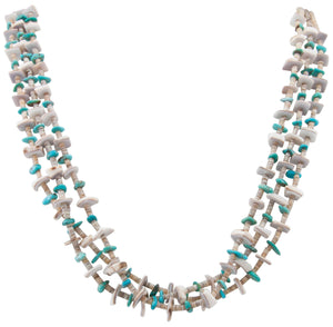 Santo Domingo Kewa Pueblo Valuta Shell Heishi and Kingman Turquoise Necklace by Pauline Bird SKU231194