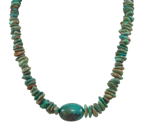 Santo Domingo Kewa Pueblo Kingman Mine Nugget Necklace by Betty Rodriquez SKU231200