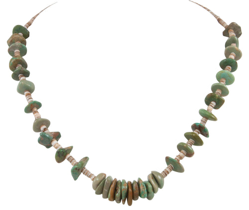Santo Domingo Kewa Pueblo Royston Mine Turquoise Nugget Necklace by Betty Rodriquez SKU231205