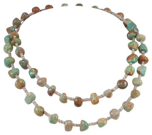 Santo Domingo Kewa Pueblo Royston Turquoise and Pen Shell Heishi Nugget Necklace by Betty Rodriquez SKU231206